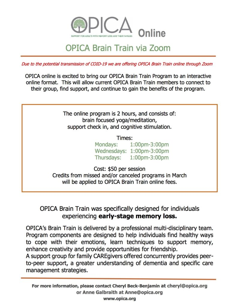 OPICA Brain Train – virtual