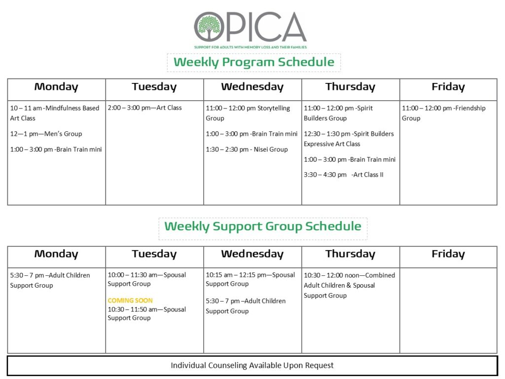 OPICA Weekly Schedule